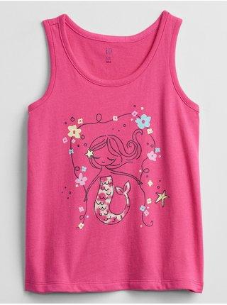 Růžové holčičí dětské tílko graphic tank top GAP