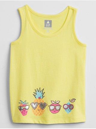 Žluté holčičí dětské tričko graphic tank top GAP