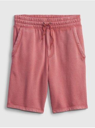Červené klučičí dětské kraťasy fleece pull-on shorts GAP