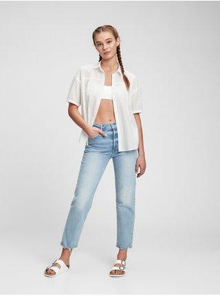 Bílá dámská košile short sleeve shirred top GAP