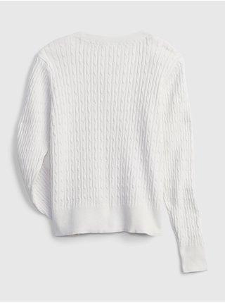 Bílý holčičí dětský svetr knit outfit GAP