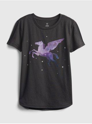Černé holčičí dětské tričko interactive graphic t-shirt GAP