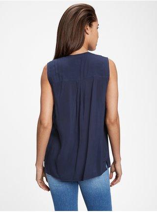 Modrý dámský top pintuck sleeveless GAP