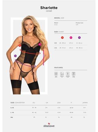 Nádherný korzet Sharlotte corset - Obsessive černá