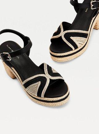 Čierne dámske kožené sandálky na podpätku Tommy Hilfiger