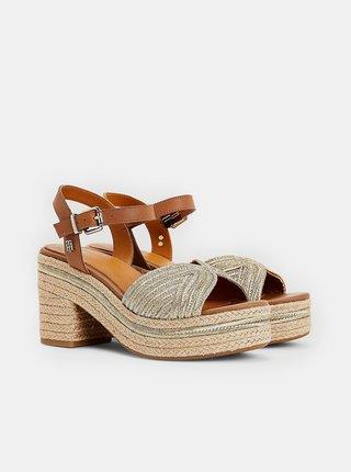 Hnedé dámske kožené sandálky na podpätku Tommy Hilfiger