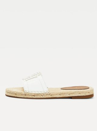 Bílé dámské kožené pantofle Tommy Hilfiger