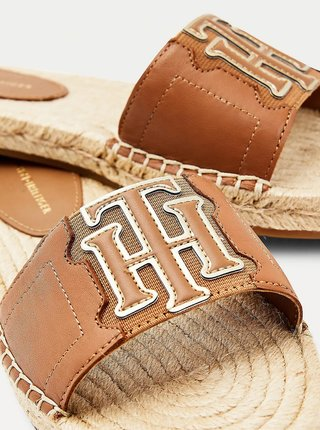 Hnědé dámské kožené pantofle Tommy Hilfiger