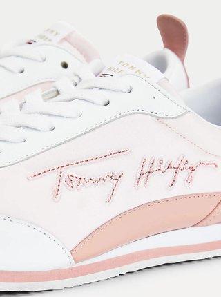 Bílo-růžové dámské kožené tenisky Tommy Hilfiger
