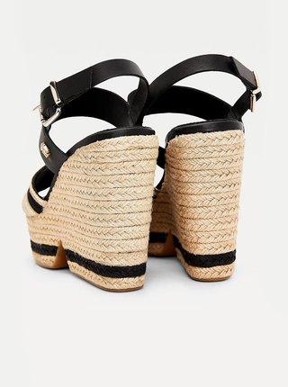 Černé dámské kožené sandálky na klínku Tommy Hilfiger