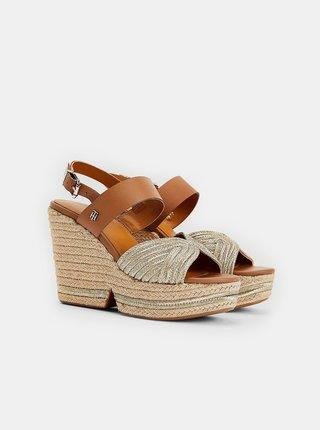 Hnedé dámske kožené sandálky na plnom podpätku Tommy Hilfiger