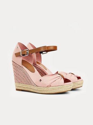 Ružové dámske sandálky na plnom podpätku Tommy Hilfiger