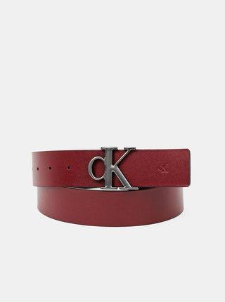 Vínovo-čierny pánsky kožený obojstranný opasok Calvin Klein