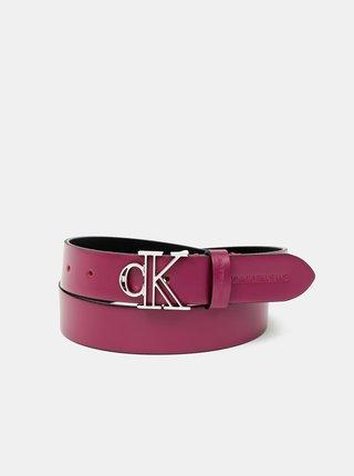 Tmavě růžový dámský kožený pásek Calvin Klein