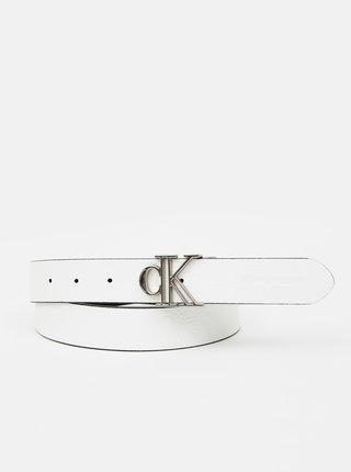 Bielo-čierny dámsky kožený obojstranný opasok Calvin Klein