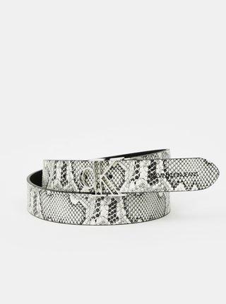 Černo-šedý dámský vzorovaný oboustranný pásek Calvin Klein