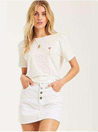Billabong STARS AND PALMS SALT CRYSTAL dámské triko s krátkým rukávem - bílá