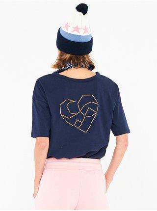 Femi Stories LOOSE NVY dámské triko s krátkým rukávem - modrá