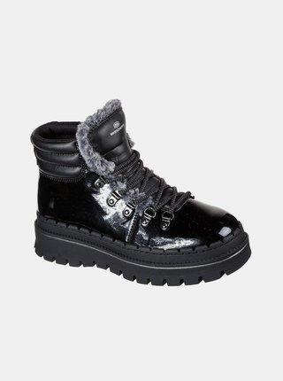 Černé dámské kotníkové zimní boty Skechers