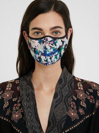 Černo-modrá dámská vzorovaná oboustranná rouška Desigual Mask Aquarelle