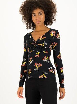 Čierne dámske vzorované tričko Blutsgeschwister Birds