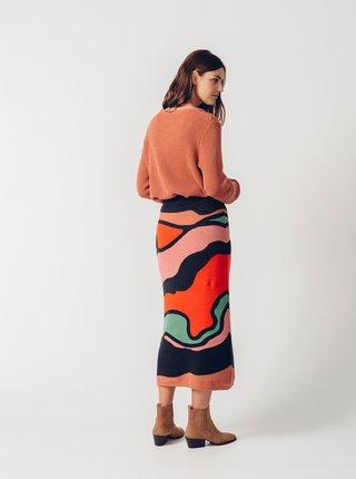 Červeno-modrá vzorovaná pouzdrová midi sukně SKFK Aiurdin