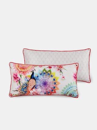 Biely vzorovaný kvetovaný dekoratívny vankúš výplňou Home Hip Bengt