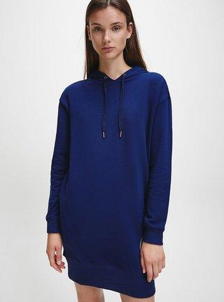 Tmavomodré dámske mikinové šaty s kapucou Calvin Klein