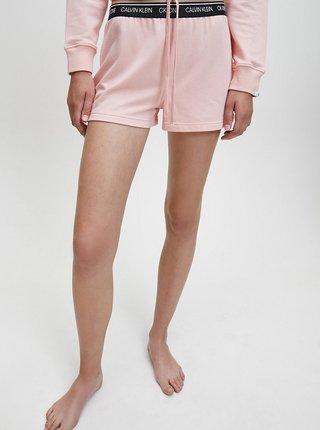 Růžové dámské teplákové kraťasy Calvin Klein