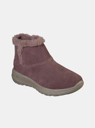 Růžové dámské kotníkové zimní boty Skechers
