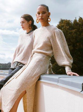 Béžové dámske svetrové midišaty ICHI Jordan