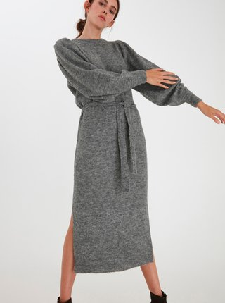 Šedé dámské svetrové midišaty ICHI Jordan