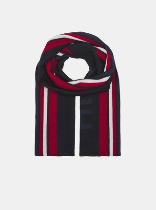 Červeno-čierny pánsky pruhovaný vlnený šál Tommy Hilfiger
