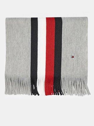 Červeno-šedý pánsky pruhovaný vlnený šál Tommy Hilfiger