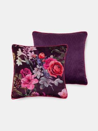 Fialový květovaný dekorativní polštář s výplní Home Descanso Simone