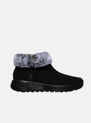 Čierne dámske členkové zimné topánky Skechers