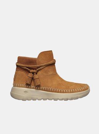 Hnedé dámske členkové zimné topánky Skechers