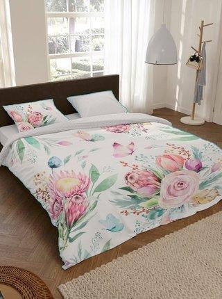 Ružovo-biele kvetované saténové posteľné návliečky na jednolôžko Home Descanso Berenice