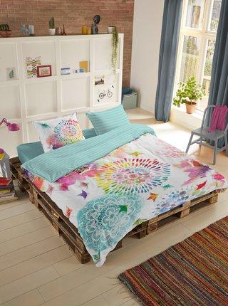 Tyrkysovo-biele vzorované obojstranné saténové posteľné návliečky na jednolôžko Home Hip Elessa