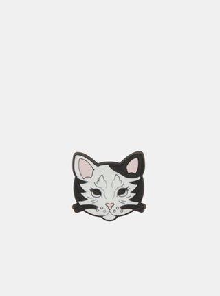 Čierno-biela ozdoba na topánky Crocs Kitty Cat