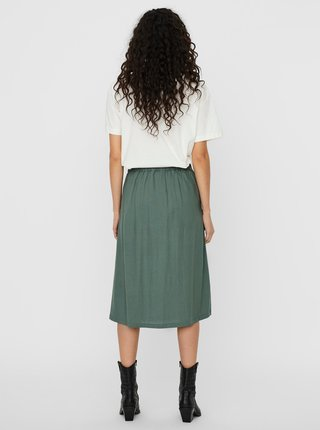 Zelená ľanová midi sukňa VERO MODA Milo