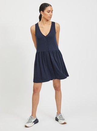 Tmavě modré šaty s knoflíky VILA Anika