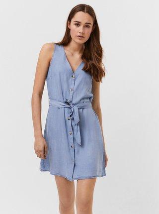 Světle modré džínové šaty se zavazováním VERO MODA Viviana