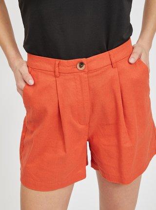 Oranžové kraťasy s příměsí lnu VILA Alina