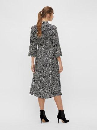 Černé vzorované košilové midišaty .OBJECT-Lorena