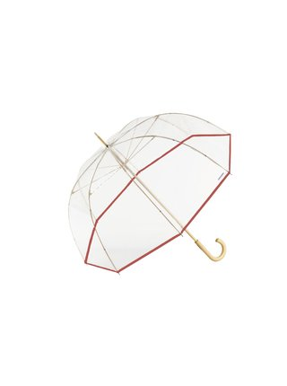 Cachemir Transparente průhledný holový deštník - Červená