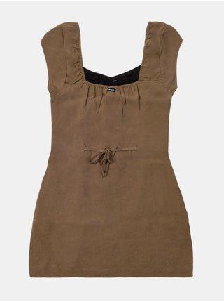 RVCA INTERRUPTION STONE krátké letní šaty - hnědá