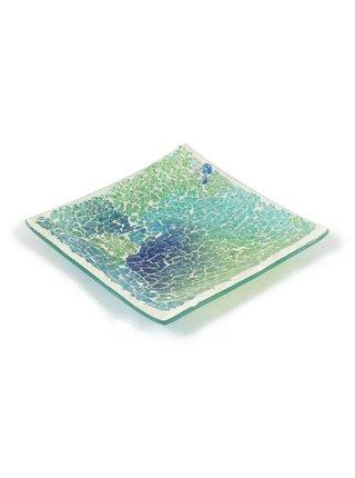 Dekorativní talířek SHIMMERING SEA tyrkysový L 18 x 18 cm+