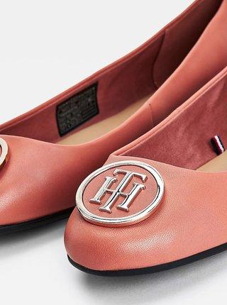 Ružové dámske kožené baleríny Tommy Hilfiger