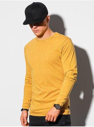 Pánske tričko s dlhým rukávom bez potlače L131 – horčicová - S